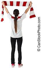 fútbol, ventilador, ondulación, rojo, blanco,...