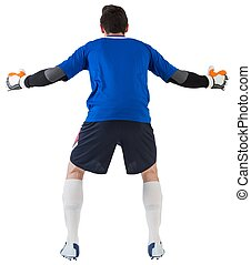 Goalkeeper in blue ready to save on white background