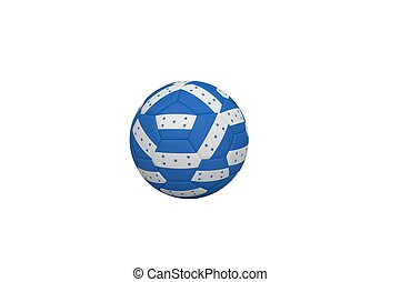 Football in honduran colours on white background