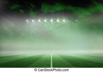 Football pitch under green sky - Digitally generated...