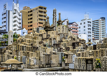 Shitennoji Graves - OSAKA, JAPAN - MAY 6, 2014: Graves at...
