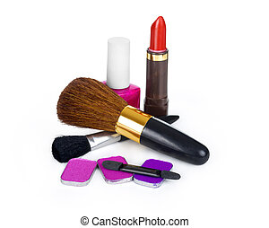 Close up view of make up objects