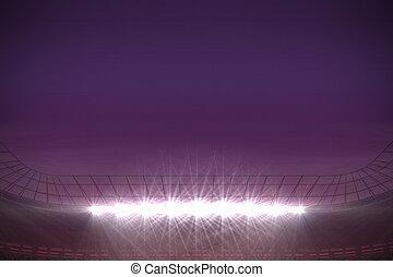 Large football stadium under purple sky - Digitally...