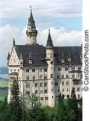 Neuschwanstein castle in Bavaria alps
