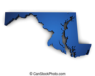 Map Of Maryland 3d Shape - Shape 3d of Maryland state map...