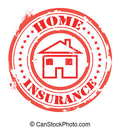home insurance stamp - home insurance grunge stamp with on...