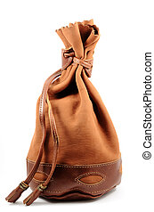 brown suede pouch on white background