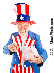 Uncle Sam Wants Your Cash - Realistic Uncle Sam holding a...