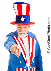 Uncle Sam Wants You - Realistic American Uncle Sam pointing...