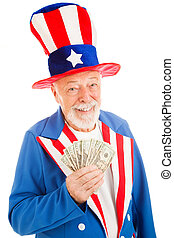 Rich Uncle Sam - Realistic Uncle Sam smiling and holding a...