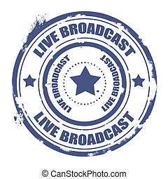 live broadcast stamp - live broadcast grunge stamp with on...