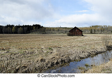 old barn is standing in the field, Finland