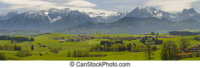 panorama landscape in Bavaria with alps mountains nearby...