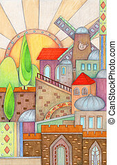 Colorful Jerusalem - Colorful and artistic design of...