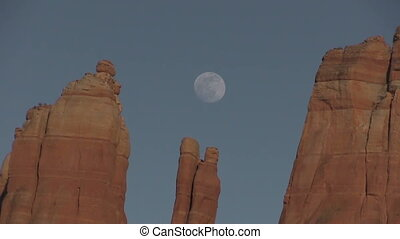 Cathedral Rock Moonrise - the full moon rises over cathedral...