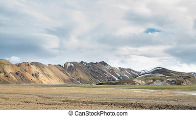 Landmannalaugar, Iceland - 4K Version of Tourists walking...