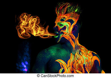 Flame Heart - Body art glowing in ultraviolet light