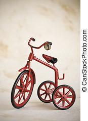 vintage toy tricycle - tiny red toy vintage metal tricycle,...