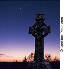 Celtic night - Celtic cross, Glendalough, Ireland