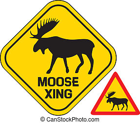 moose crossing road sign - moose crossing road sign, elk...
