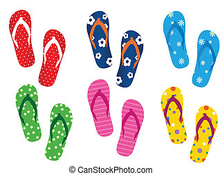Flip flops on the white background