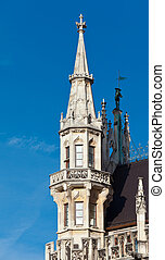 Detail of the town hall on Marienplatz, Munich, Germany