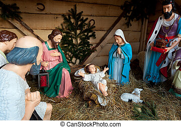 Nativity scene, Munich - Nativity scene with statues Munich,...