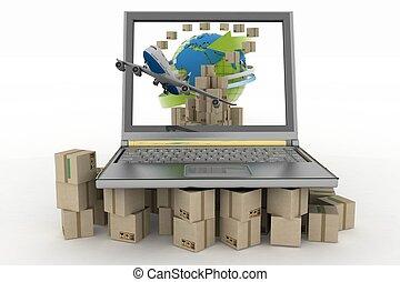 Concept of online goods orders worldwide
