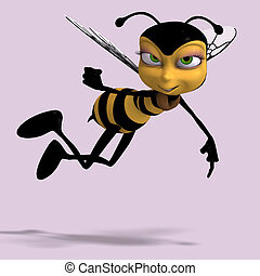 very sweet render of a honey bee in yellow and black with...