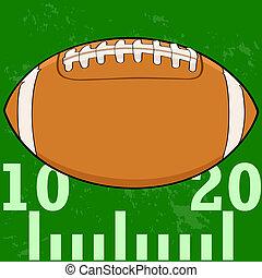 Football on field - Cartoon illustration of an American...