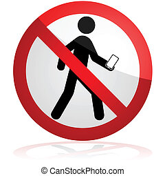 No texting while walking - Concept illustration showing a...
