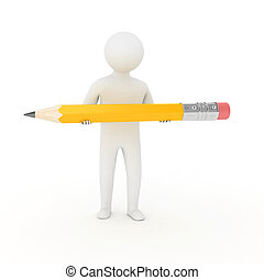 3d white man is holding a pencil