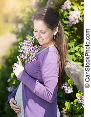 Pregnant woman - Outdoor portrait of beautiful pregnant...