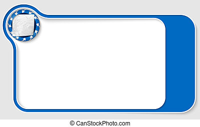 blue  box for text with arrows and crumpled paper