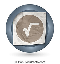 dark abstract icon with crumpled paper and radix sign