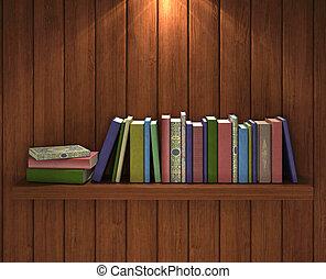 Books on the brown wooden bookshelf
