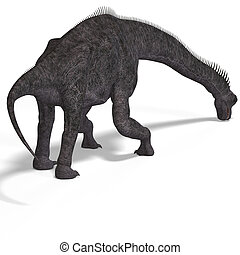 dinosaur - giant dinosaur brachiosaurus With Clipping Path...