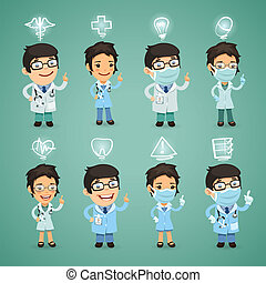 Doctors with Icons Set In the EPS file, each element is...