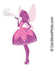 Princess fairy - Silhouette of a beautiful princess isolated...