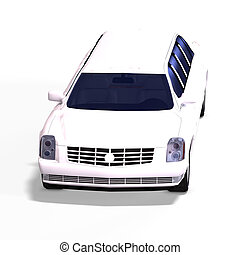 white limo - huge limo with black windows with Clipping Path