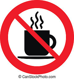 No coffee cup sign on white background