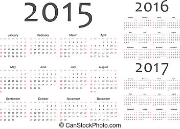 Set of european 2015, 2016, 2017 year vector calendars. Week...