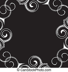 Black and white pattern frame with curly waves.