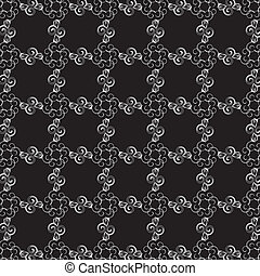 Black and white pattern with curly waves.