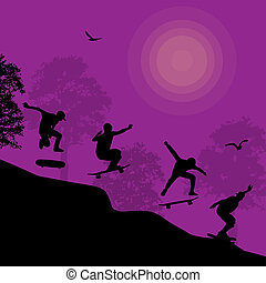 Skater silhouettes background