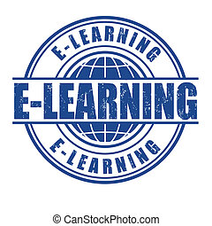 E-learning stamp - E-learning grunge rubber stamp on white,...