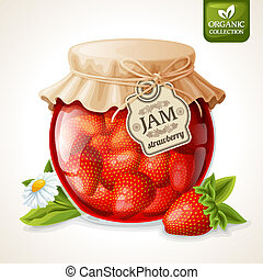 Strawberry jam in glass - Natural organic homemade...