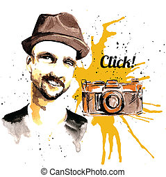 Man ink hipster - Male hipster character with hat and photo...