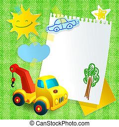 Toy construction machine paper postcard template