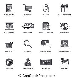 Shopping E-commerce Icons - E-commerce shopping icons set of...